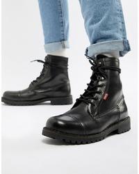 Levi's Leavit Leather Boot In Black