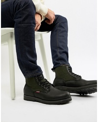 Levi's Logan Leather Boot With Wool Detail In Black