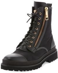 Versace Small Medusa Leather Jacquard Combat Boot Black