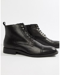 Pier One Toe Cap Lace Up Boots In Black Leather