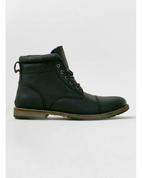 Topman Black Leather Toecap Boots