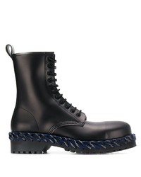 Balenciaga Woven Detail Lace Up Boots