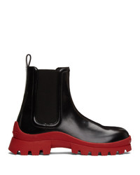 DSQUARED2 Black And Red Tank Rain Chelsea Boots