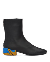 Raf Simons Black And Yellow Solaris 2 Zip Up Boots