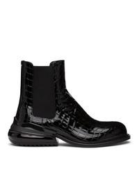 Maison Margiela Black Croc Chelsea Boots