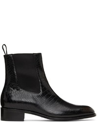 Tom Ford Black Croc Chelsea Boots