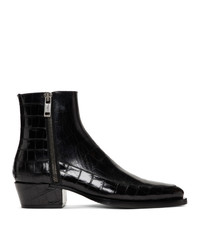 Givenchy Black Croc Dallas Zip Boots