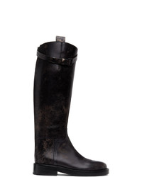 Ann Demeulemeester Black Distressed Riding Boots