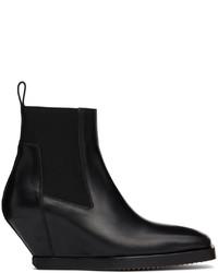 Rick Owens Black Elastic Sliver Chelsea Boots