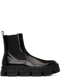 Versace Black Greca Labyrinth Chelsea Boots