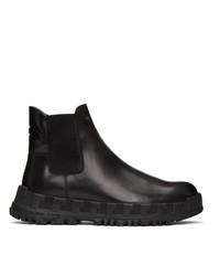 Versace Black Greca Rhegis Chelsea Boots