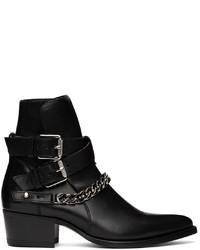 Amiri Black Jodhpur Chain Boots