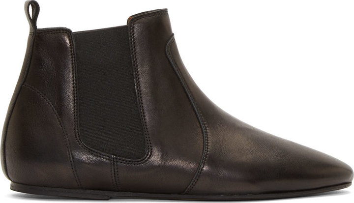 Isabel Marant Black Leather Dewar Flat Ankle Boots | Where to buy ...