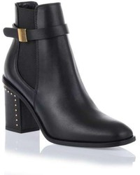 Alexander McQueen Black Leather Embellished Chelsea Boot