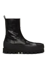 Ann Demeulemeester Black Leather Zip Boots