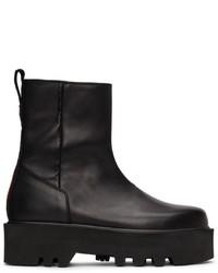 Heron Preston Black Leather Zip Boots