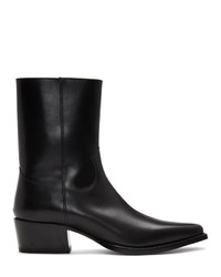 DSQUARED2 Black Leather Zip Up Boots