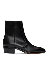 Husbands Black Leather Zipped Boots