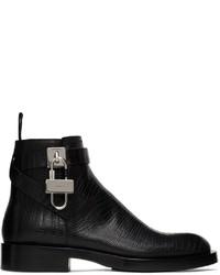 Givenchy Black Lizard Padlock Boots
