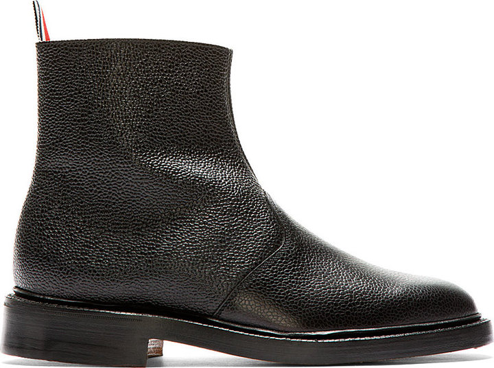 Browne Boot Black Leather Chelsea Pebbled Thom gpqvZw1Wq