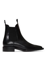 AMI Alexandre Mattiussi Black Pointed Chelsea Boots