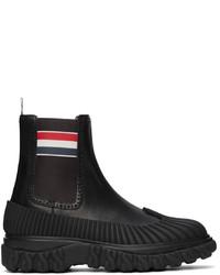 Thom Browne Black Rwb Stripe Duck Chelsea Boots