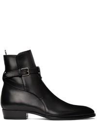 Saint Laurent Black Smooth Wyatt Jodhpur Boots