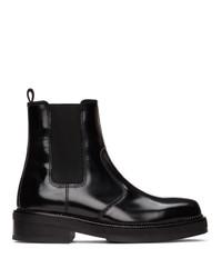 AMI Alexandre Mattiussi Black Spazzolato Chelsea Boots