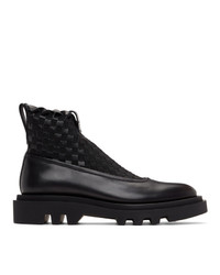Givenchy Black Woven Combat Chelsea Boots