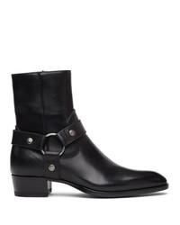 Saint Laurent Black Wyatt Harness Boots