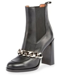 Givenchy Chain Leather Chelsea Bootie Black