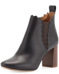 Chloé Chloe Scalloped Leather Chelsea Boot Black