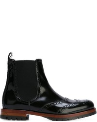 Dolce & Gabbana Brogue Detailing Chelsea Boots