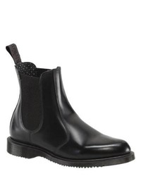 Dr. Martens Flora Chelsea Boot Black Polished Smooth Boots
