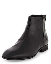 Salvatore Ferragamo Ferragamo Mister Patent Leather Hidden Gore Chelsea Boot Black