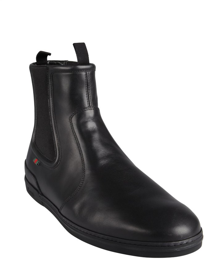 gucci black leather pull on ankle chelsea boots where to