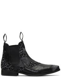 Comme des Garcons Homme Plus Black Leather Patchwork Chelsea Boots