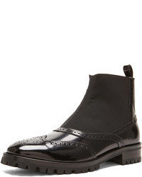 Christopher Kane Leather Elastic Chelsea Leather Boots