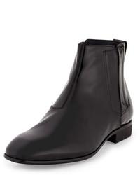 Salvatore Ferragamo Mister Patent Leather Hidden Gore Chelsea Boot Black
