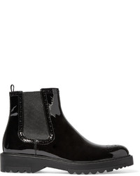 Prada Patent Leather Chelsea Boots Black