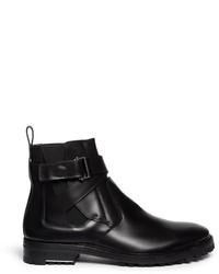 Lanvin Puzzle Leather Buckle Chelsea Boots