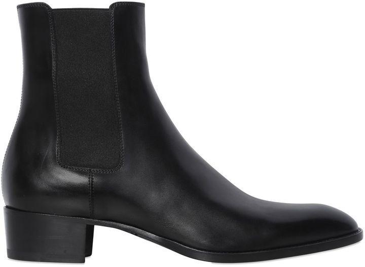 08cfbef5717 ... Saint Laurent 40mm Wyatt Leather Chelsea Boots ...