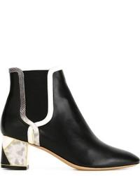 Salvatore Ferragamo Textured Heel Chelsea Boots