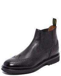 Doucal's Savino Grain Leather Wingtip Chelsea Boots