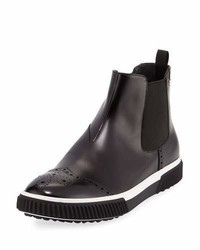 Prada Slip On Leather Brogue Chelsea Boot Black