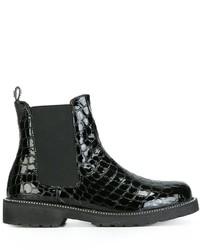 Twin-Set Embossed Crocodille Effect Chelsea Boots