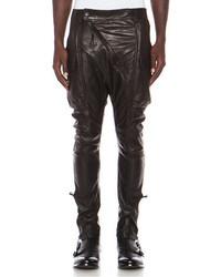 Alexandre Plokhov Diagonal Front Lambskin Leather Cargos In Black