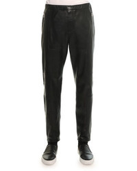 Leather jogger pant black medium 332552