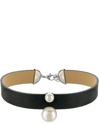Majorica 814mm Round Pearls On Black Leather Choker Necklace 14 16 Necklace