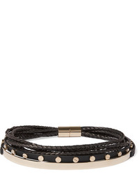 Givenchy Gold Tone And Leather Choker Black